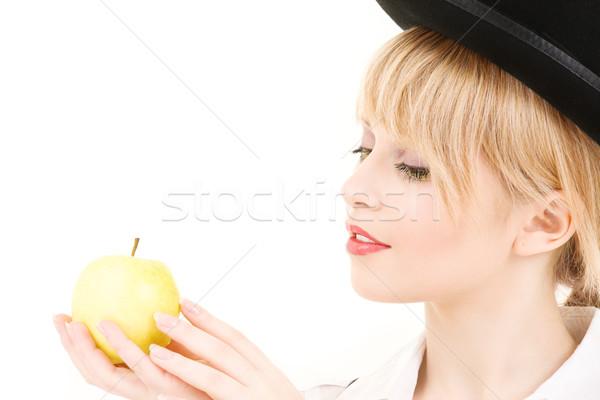 Zielone jabłko jasne zdjęcie kobieta Zdjęcia stock © dolgachov