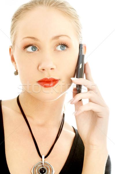 Portret elegancki blond telefon komórkowy biały sexy Zdjęcia stock © dolgachov