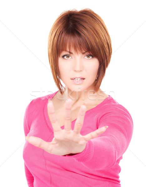 Parada brillante Foto mujer de negocios gesto Foto stock © dolgachov