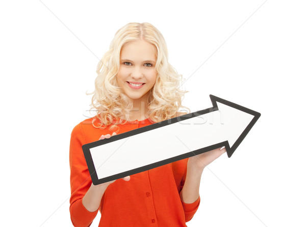 businesswoman with direction arrow sign Stock photo © dolgachov