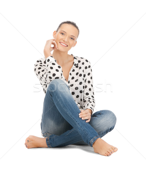 happy and carefree teenage girl Stock photo © dolgachov