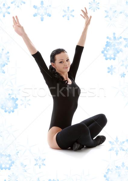 fitness in black leotard Stock photo © dolgachov