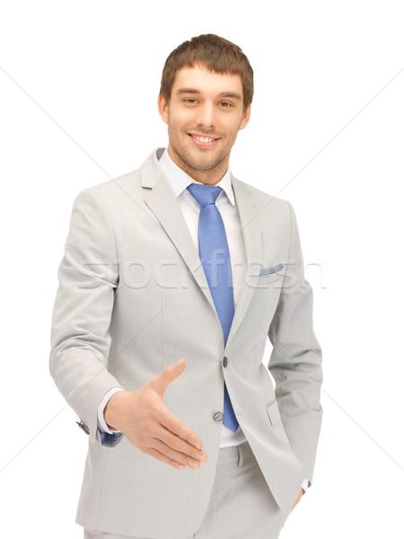человека открытых стороны готовый рукопожатие красивый мужчина Сток-фото © dolgachov