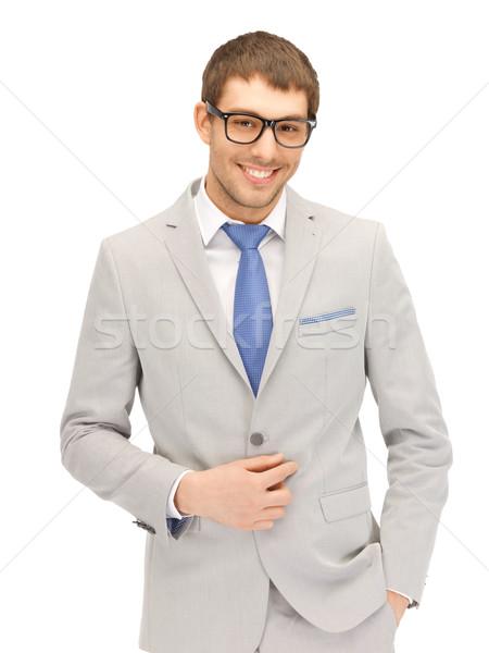 Feliz empresario gafas retrato Foto hombre Foto stock © dolgachov