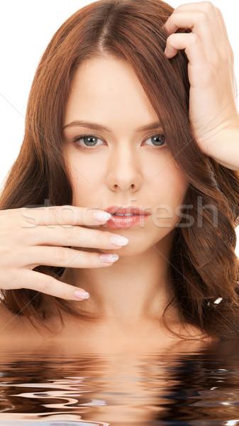 Stock fotó: Gyönyörű · nő · víz · fényes · közelkép · portré · kép