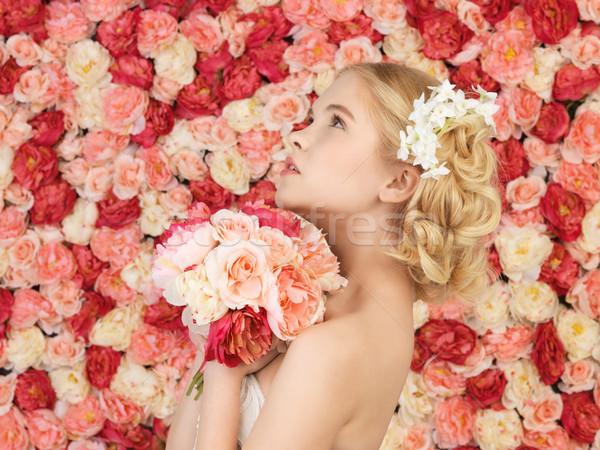 Frau Bouquet voll Rosen Blumen Hochzeit Stock foto © dolgachov