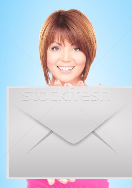 woman showing virtual envelope Stock photo © dolgachov
