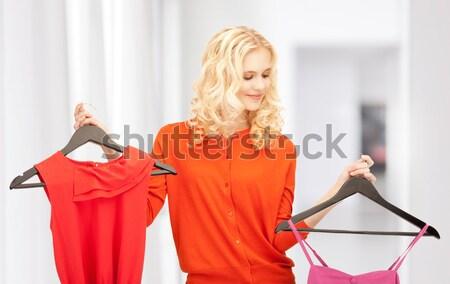 женщину пальто ярко фотография модель домой Сток-фото © dolgachov