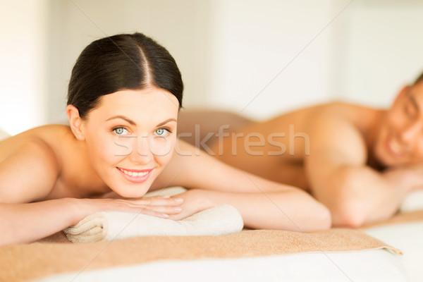 Foto d'archivio: Coppia · spa · foto · salone · massaggio · donna