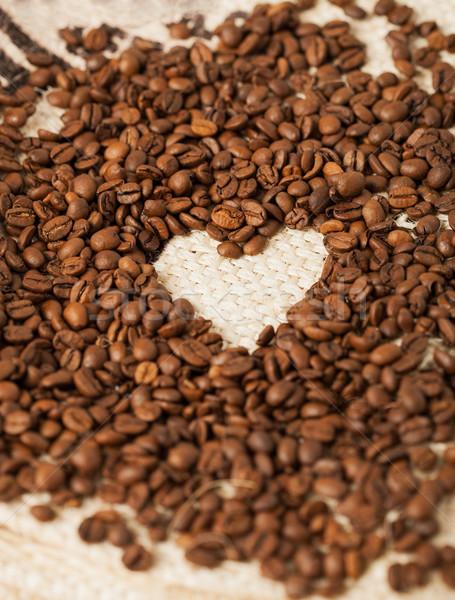 Kávé textil közelkép szeretet kávé háttér Stock fotó © dolgachov