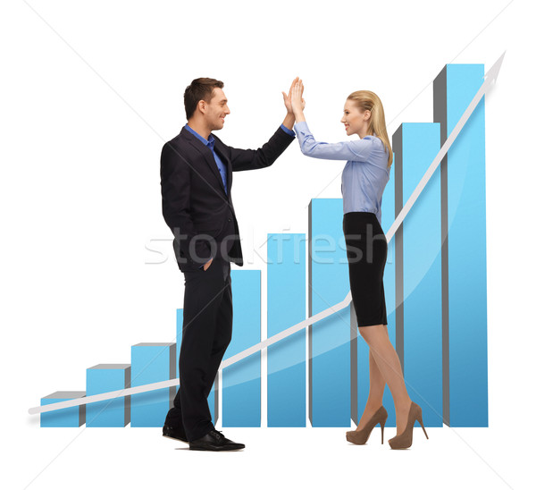 man and woman giving a high five Stock photo © dolgachov