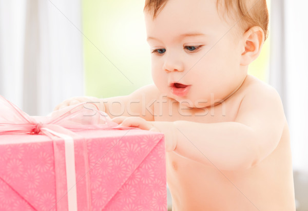 happy child with gift box Stock photo © dolgachov