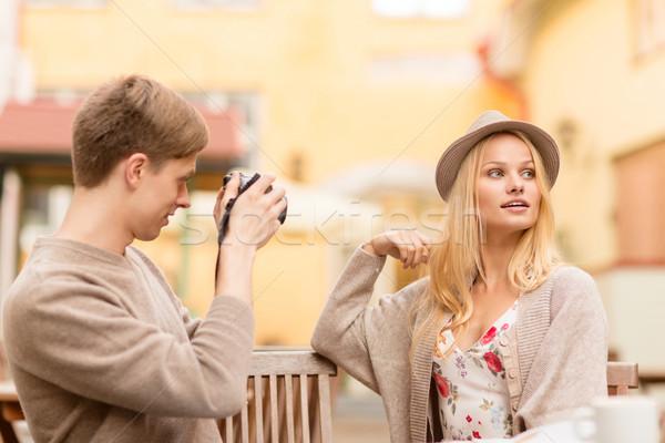 Pár elvesz fotó kép kávézó nyár Stock fotó © dolgachov