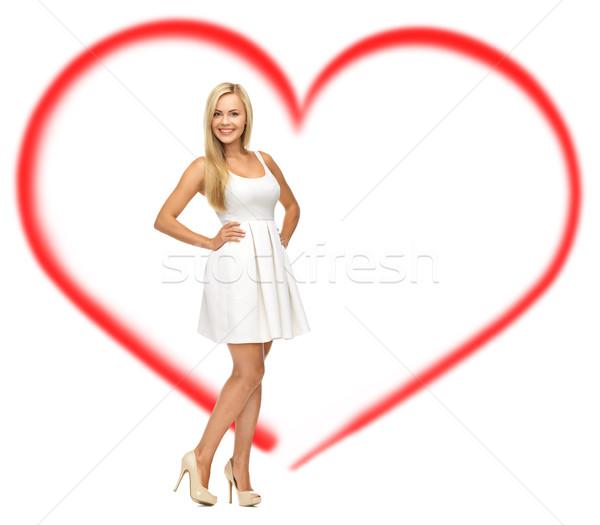 белое платье красоту моде любви Сток-фото © dolgachov