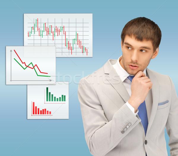 Peinzend man naar forex charts business Stockfoto © dolgachov
