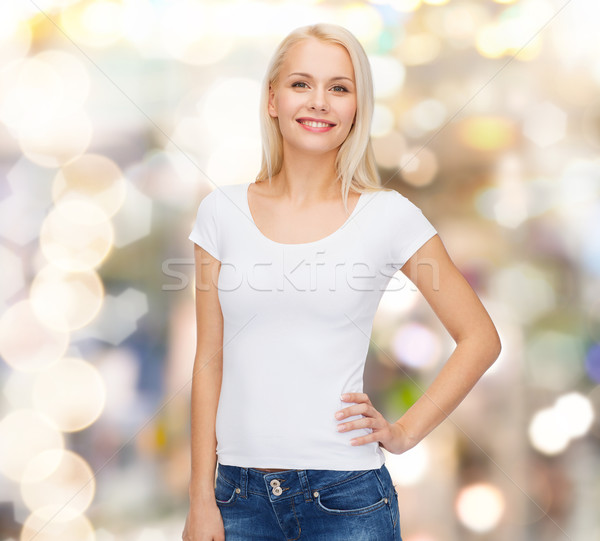 Stock photo: smiling woman in blank white t-shirt