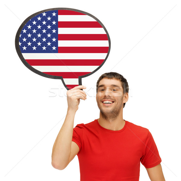 smiling man with text bubble of american flag Stock photo © dolgachov