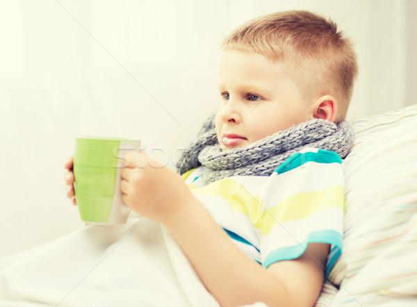 Doente menino gripe casa infância saúde Foto stock © dolgachov