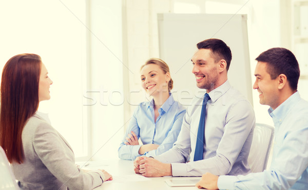 Glimlachend zakenvrouw interview kantoor business carriere Stockfoto © dolgachov
