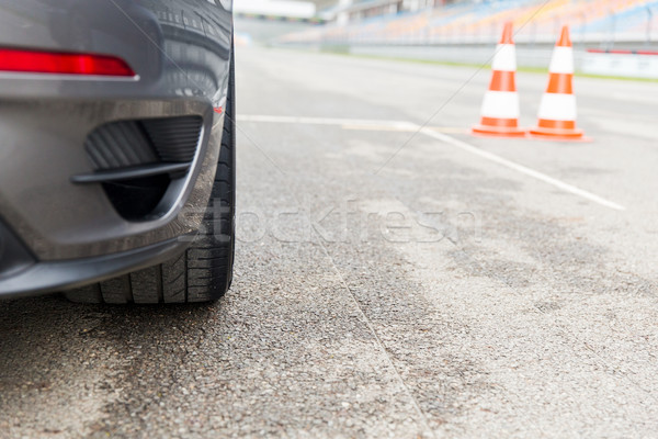 close up of car front on speedway at stadium Stock photo © dolgachov