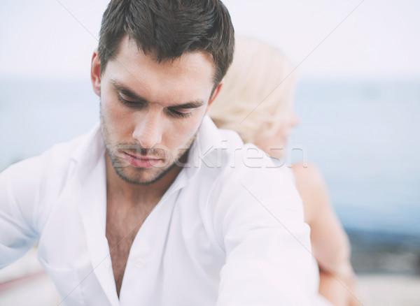 Homem fora namoro relações mulher Foto stock © dolgachov