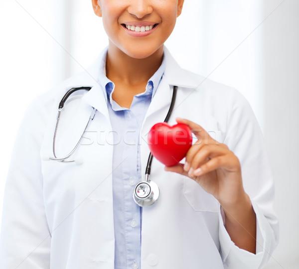 Afrikai orvos szív egészségügy orvosi kardiológia Stock fotó © dolgachov
