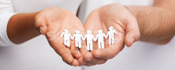 couple hands with paper team Stock photo © dolgachov
