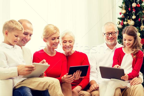 Sorridente família informática casa férias Foto stock © dolgachov