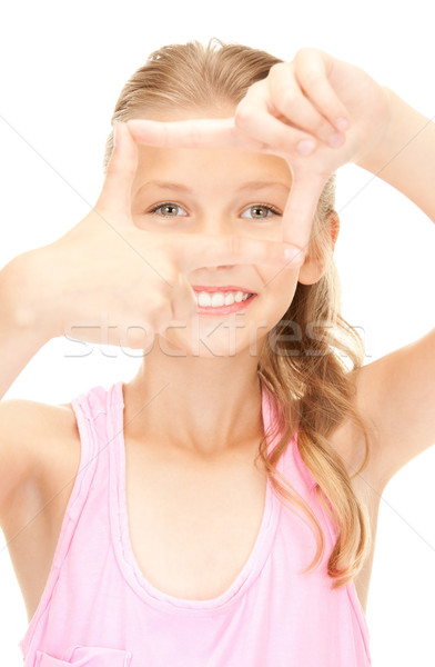 Stockfoto: Mooie · meisje · frame · vingers · foto · handen