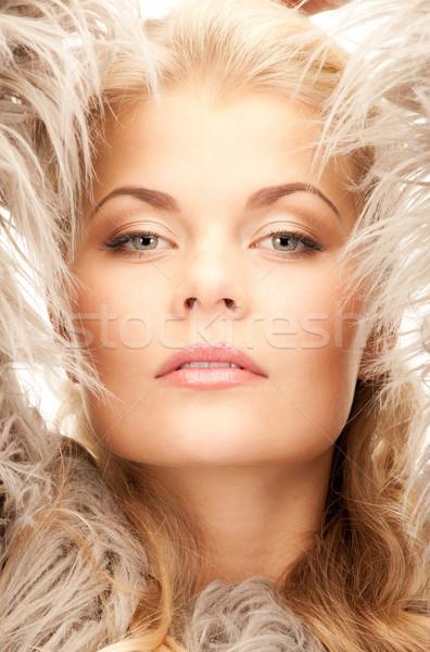 красивая женщина мех ярко фотография женщину лице Сток-фото © dolgachov