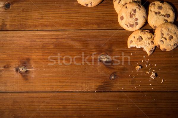 Közelkép zab sütik fa asztal sütés főzés Stock fotó © dolgachov