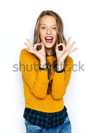幸せ 若い女性 代 印相 ストックフォト © dolgachov