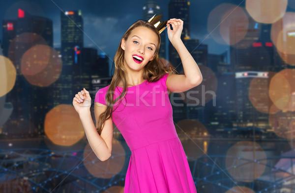 Felice corona notte città persone Foto d'archivio © dolgachov