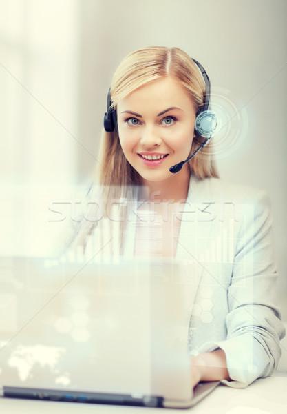 Fütüristik kadın yardım hattı operatör kulaklık sanal Stok fotoğraf © dolgachov