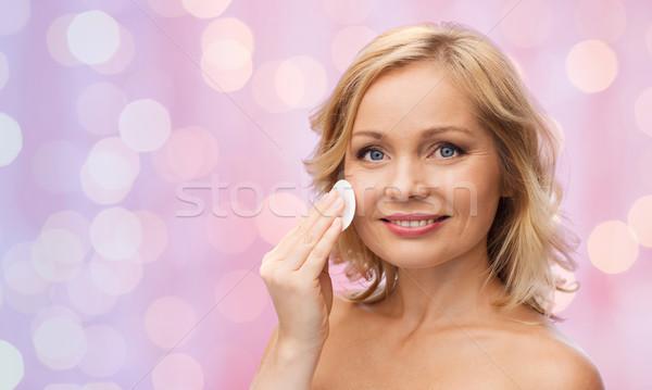 幸せ 女性 洗浄 顔 綿 美 ストックフォト © dolgachov