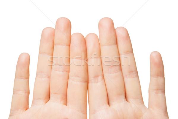 Mains huit doigts geste Photo stock © dolgachov