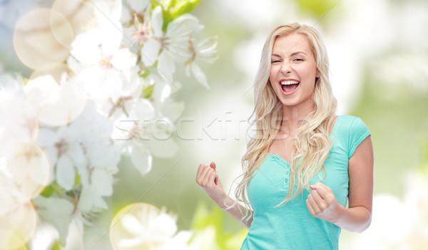 Felice teen girl vittoria emozioni Foto d'archivio © dolgachov