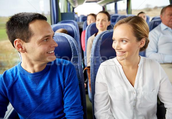 Stockfoto: Groep · gelukkig · passagiers · reizen · bus · vervoer