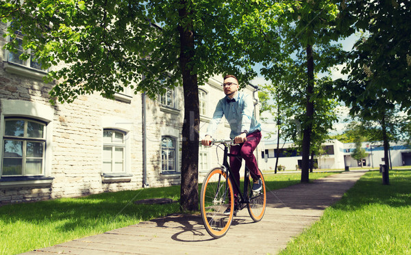 счастливым молодые человека верховая езда зафиксировано Сток-фото © dolgachov