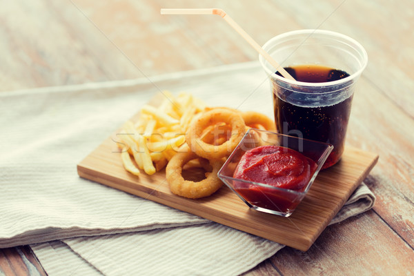 Foto stock: Fast-food · lanches · beber · tabela · insalubre · comer