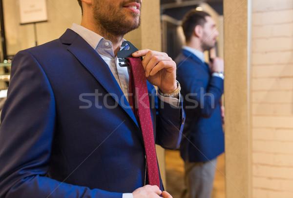 ストックフォト: 男 · ネクタイ · ミラー · 販売 · ショッピング