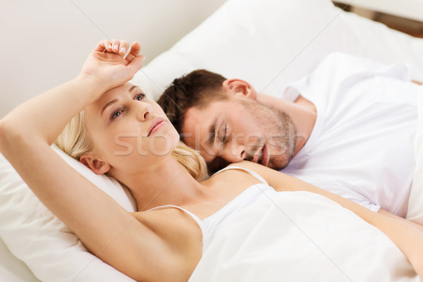 Photo stock: Couple · dormir · lit · maison · personnes · famille