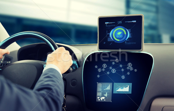 close up of man with tablet pc driving car Stock photo © dolgachov