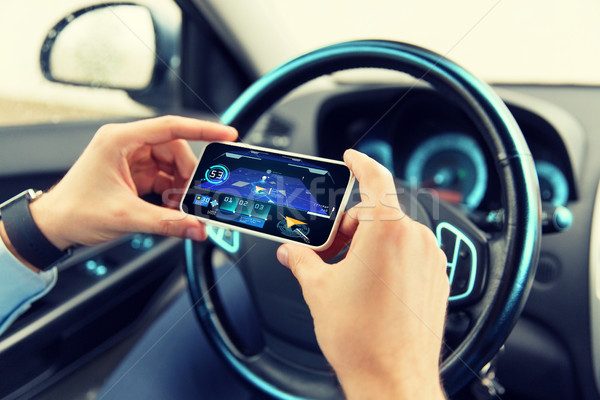 hands with navigator on smartphone in car Stock photo © dolgachov