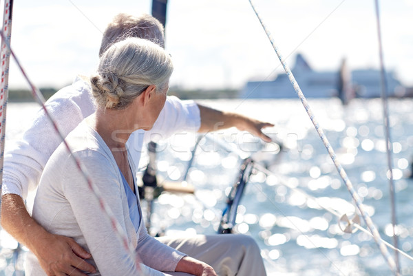 Feliz casal de idosos velejar barco iate mar Foto stock © dolgachov