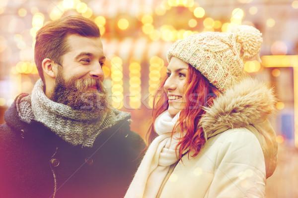 счастливым пару ходьбе старый город праздников зима Сток-фото © dolgachov
