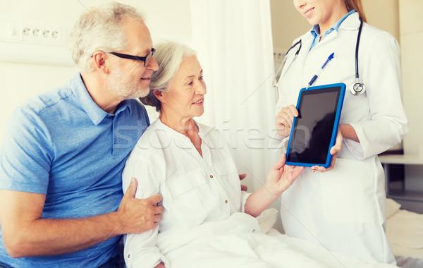 Stock fotó: Idős · nő · orvos · táblagép · kórház · gyógyszer