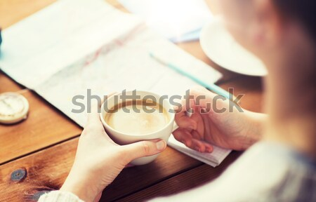 close up of happy woman with cocoa cup at home Stock photo © dolgachov