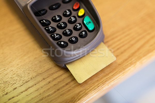 close up of bank card reader or atm terminal Stock photo © dolgachov