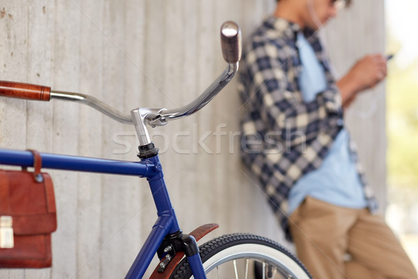 man with fixed gear bicycle on street Stock photo © dolgachov
